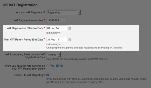 enter VAT registration effective date and first VAT return period end date