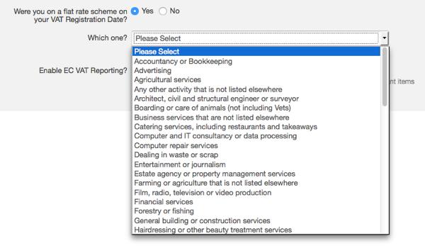 VAT settings - select flat rate scheme