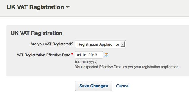 VAT registration section - saving changes to UK VAT registration