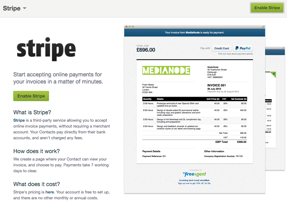 Receiving Invoice Payments Stripe FreeAgent - Send invoice using stripe