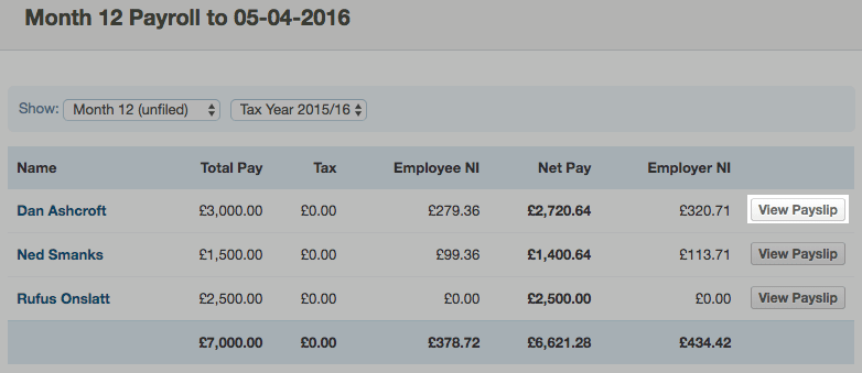 Editing clients' payslips – FreeAgent
