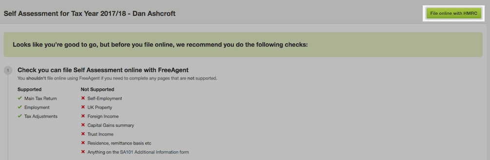 Filing a Self Assessment tax return with FreeAgent (sole